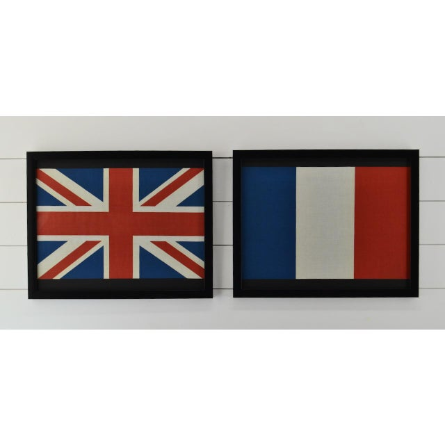 Pair of Framed Flags British, England, Uk & a Usa For Sale - Image 4 of 4