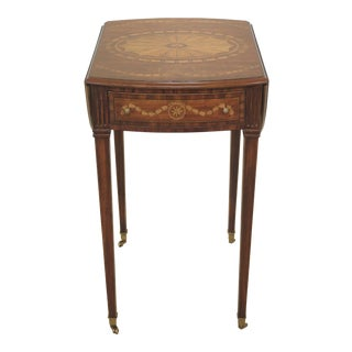 Traditional Maitland Smith Adam Style Highly Inlaid Pembroke Table For Sale