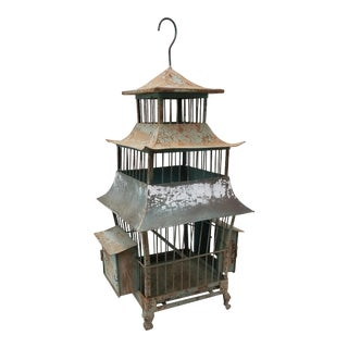 Vintage Sheet Metal Pagoda Bird Cage C.1930s For Sale