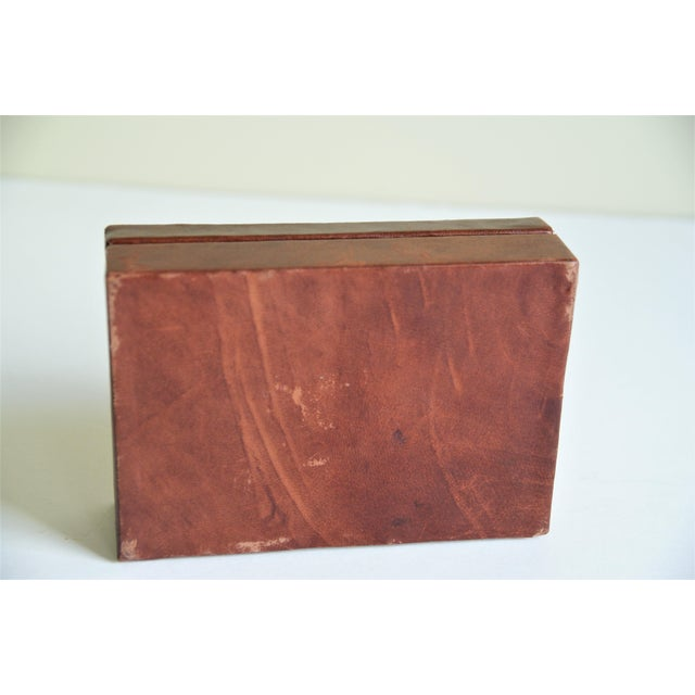 Leather Vintage French Leather Playing Card Box For Sale - Image 7 of 13