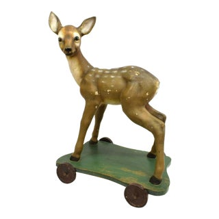 Large 1950s Vintage Hand Carved & Painted Wooden Deer Pull Toy For Sale