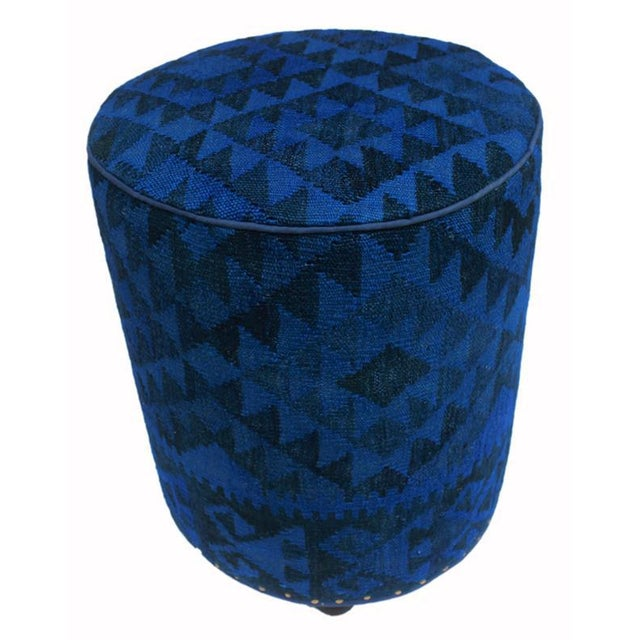 Blue Arshs Deandrea Blue/Drk. Blue Kilim Upholstered Handmade Ottoman For Sale - Image 8 of 8