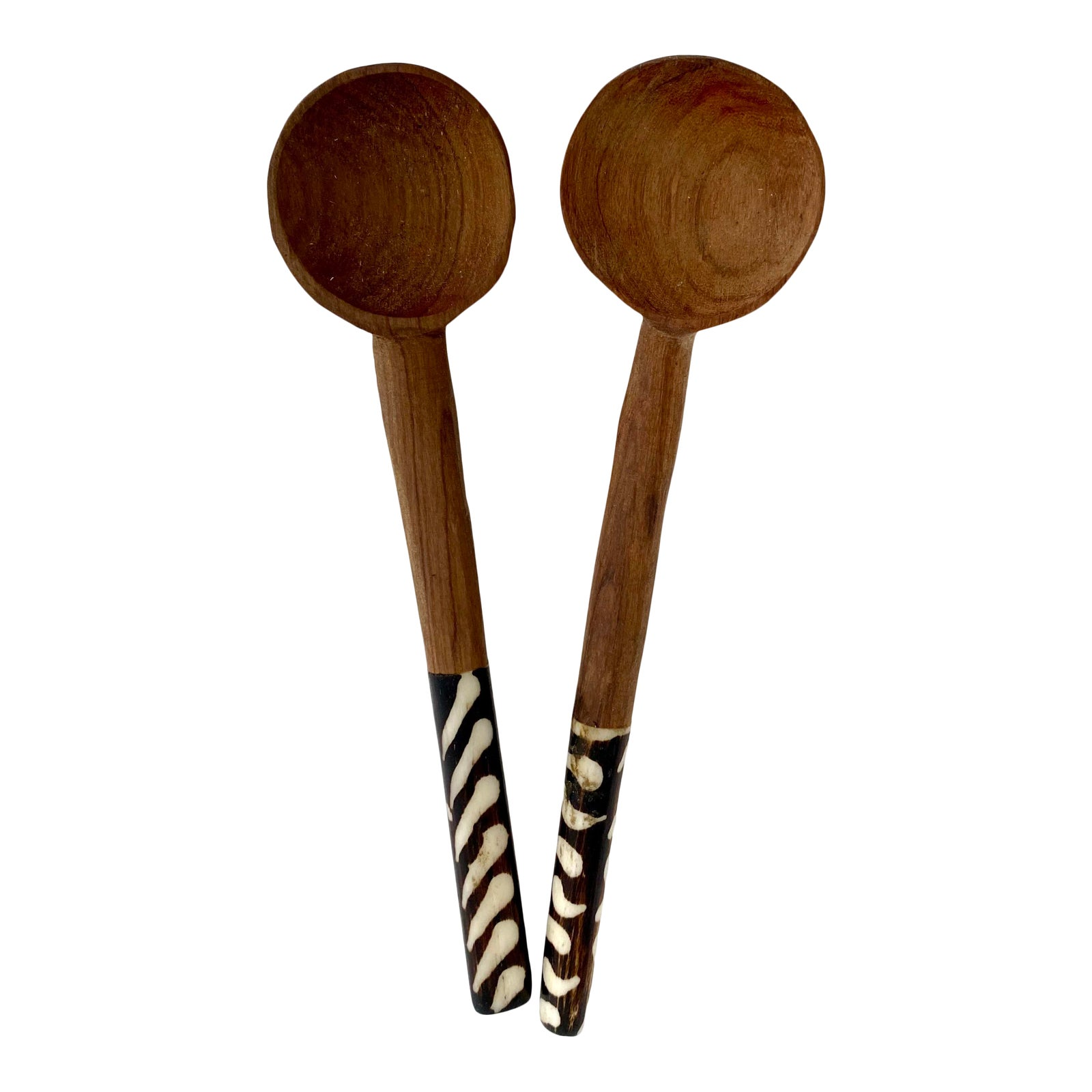 Hand Carved African Wood Bone Condiment Spoons A Pair Chairish