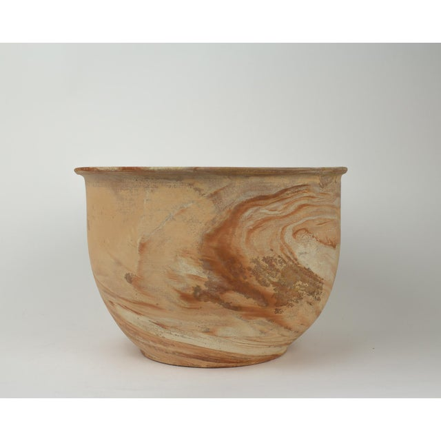 1970s Large Vintage Orange Terra Cotta Swirl Decorative Bowl Planter For Sale - Image 5 of 13