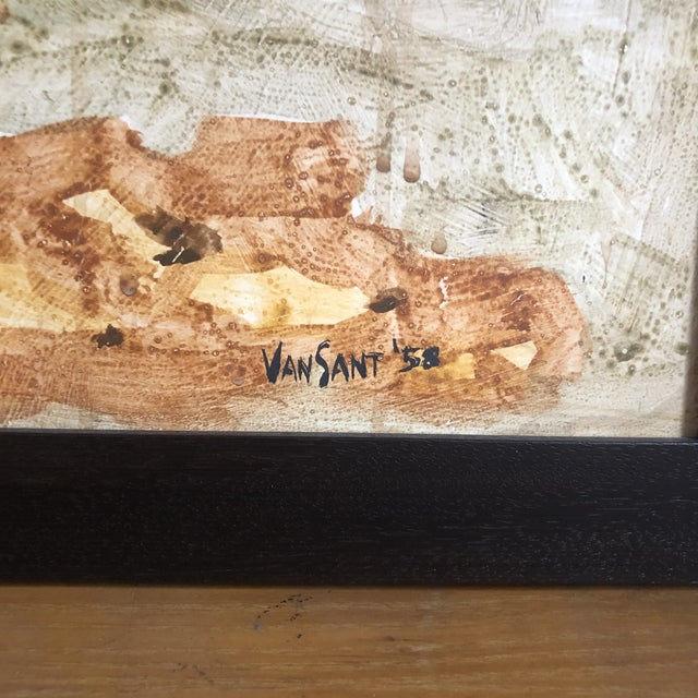Wood 1958 Original Tom Van Sant California Landscape Painting, Signed and Dated For Sale - Image 7 of 9