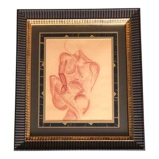 Original Vintage Sepia Drawing Female Nude Framed For Sale