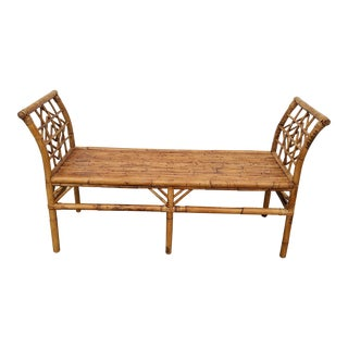 1970s Boho Chic Tropical Rattan Bench For Sale