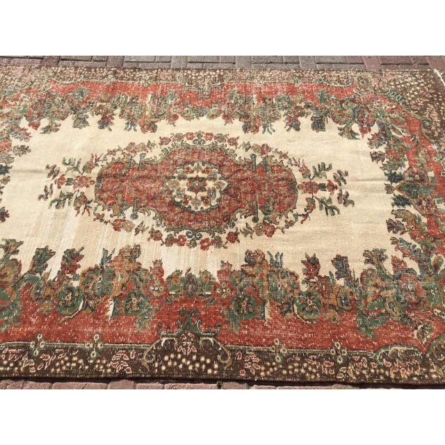 Vintage Hand Knotted Turkish Rug For Sale - Image 4 of 11