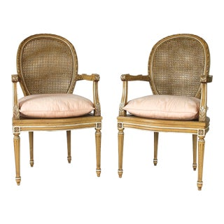 Neoclassical Caned Fauteuils