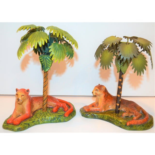 Vintage Art Deco Metal Leopard and Palm Tree Candleholders - a Pair - a Pair For Sale In Houston - Image 6 of 7