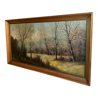 Early 20th Century Antique Large Oil on Canvas Landscape Signed Painting For Sale