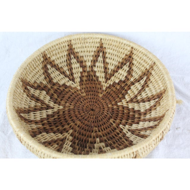 African Ghanian Tribal Thick Brown Starburst Basket For Sale - Image 3 of 5
