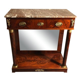 19th Century French Empire Marble Top Mahogany Console Table For Sale