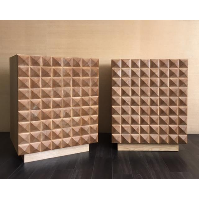 Sabin Custom Rexford Geometic Oak Nightstands - a Pair - Image 2 of 7