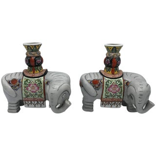 1960s Polychrome Ceramic Elephant Sculpture Candlestick Holders, Pair For Sale