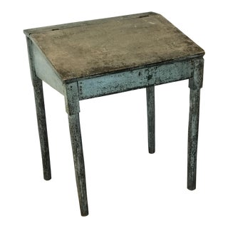 Antique Blue Painted Desk For Sale