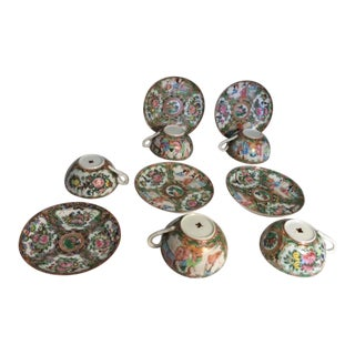 Famille Rose Tea Cups & Saucers - Service for 5 For Sale