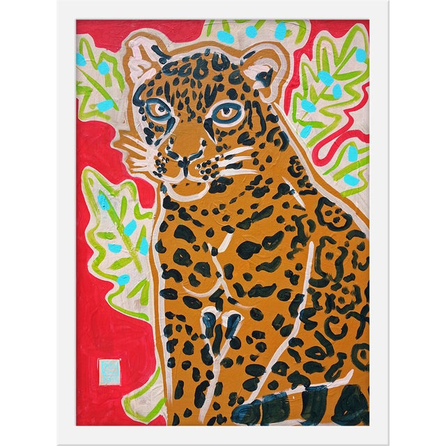 "Contemporary Small ""Red Jaguar"" Print by Jelly Chen, 15"" X 20"" For Sale - Image 3 of 3"