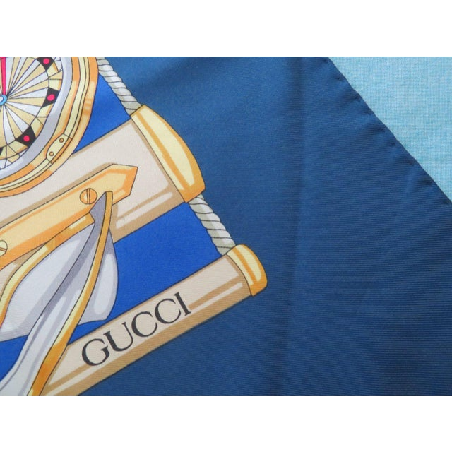 Blue Vintage Gucci Nautical Silk Scarf For Sale - Image 8 of 13