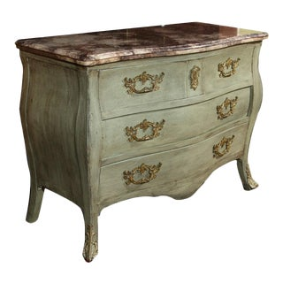Louis XV Style Paint Decorated Marble Top Commode