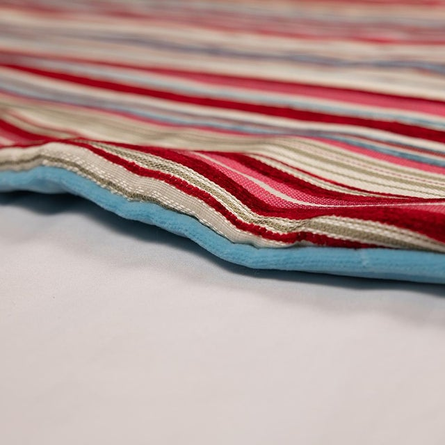 Contemporary Red, Pink and Blue Striped Tree Skirt For Sale - Image 4 of 10