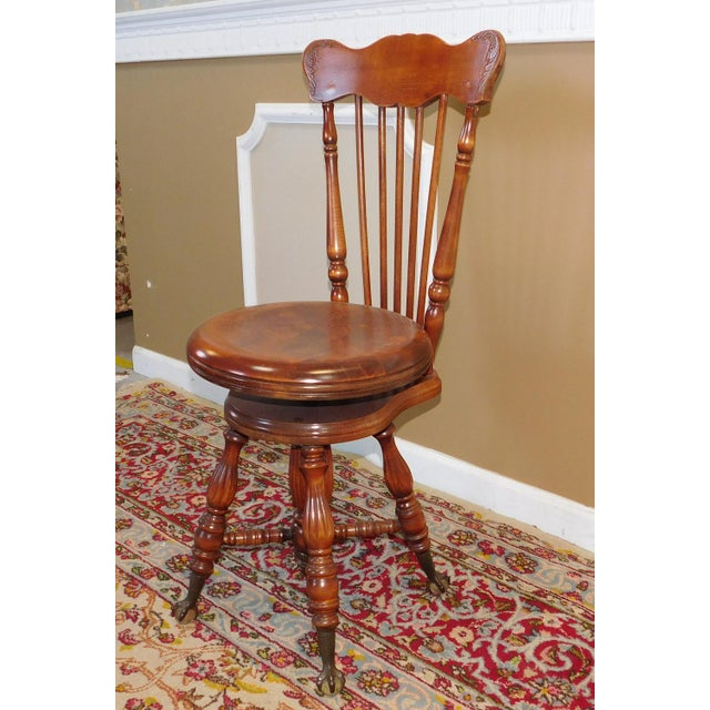 Description: Great little antique late Victorian hardwood maple & walnut Windsor piano chair stool, c1900. Pressed carved...
