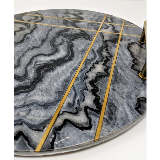 Early 21st Century Gray Marble and Brass Circular Tray For Sale - Image 5 of 13