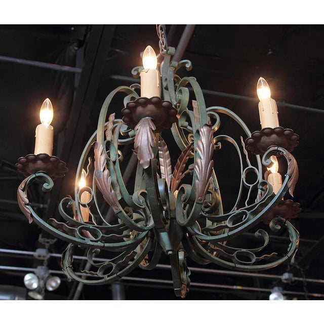 Early 20th Century French Six-Light Iron Chandelier With Verdigris Finish - Image 6 of 10