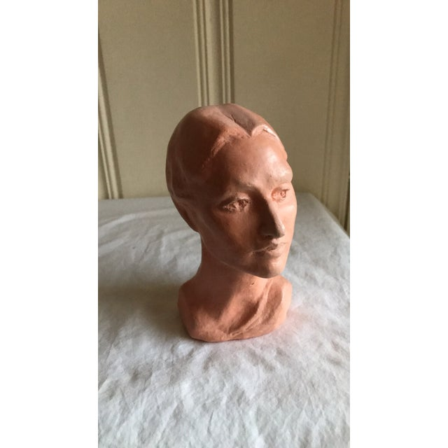 Vintage Artisan Sculpted Female Head Bust For Sale - Image 11 of 11