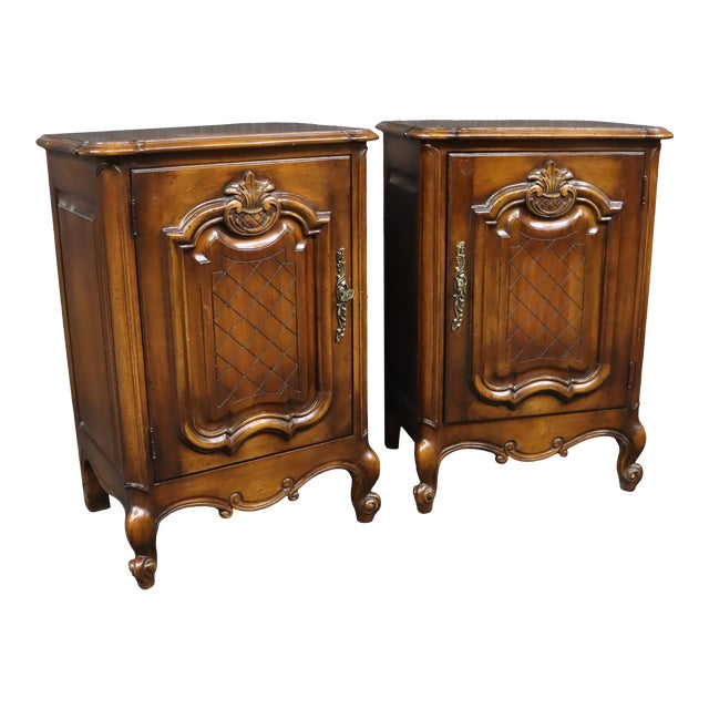 Louis XV Style Carved Cherry Nightstands - a Pair For Sale