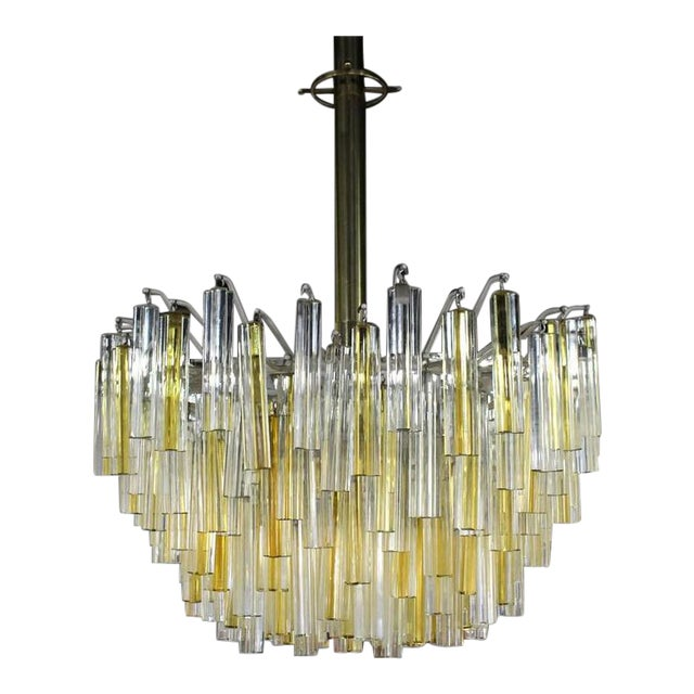 Venini Two-Tone Gold and Clear Murano Camer Light Fixture For Sale