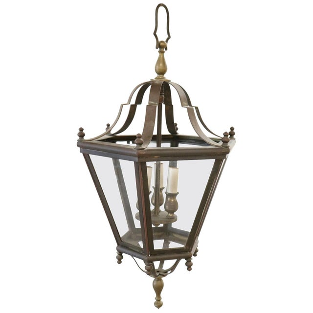 Gold 20th Century Italian Brass Lantern Three Lights For Sale - Image 8 of 8