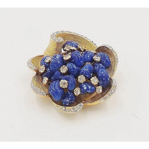 Gemstone Vintage 1960s Signed Kramer Faux-Lapis Rhinestone Pin For Sale - Image 7 of 8