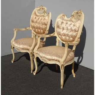 Pair Vintage French Provincial Louis XVI Rococo Off White Heart Tufted Chairs Preview