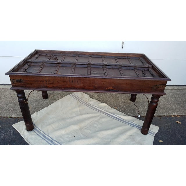 17th Century Medival Metal and Wood Dining Table Made From 17th Century Door For Sale - Image 13 of 13