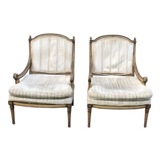 1960s Vintage Shabby Chic Louis XVI Bergeres- A Pair For Sale