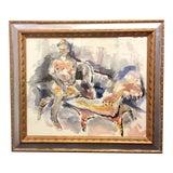 """Image of 1980s John Howard Gould Original """"Girl in Repose"""" Watercolor Painting For Sale"""