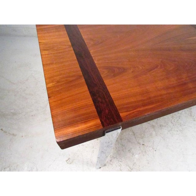 Mid-Century Rosewood Inlay Dining Table For Sale In New York - Image 6 of 8