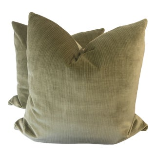 "Duralee Basil Strie Velvet 22""Pillows-A Pair For Sale"