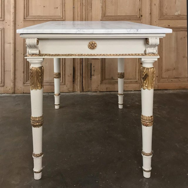 19th Century Italian Neoclassical Painted and Gilded Marble Top Center Table ~ Console For Sale - Image 9 of 12