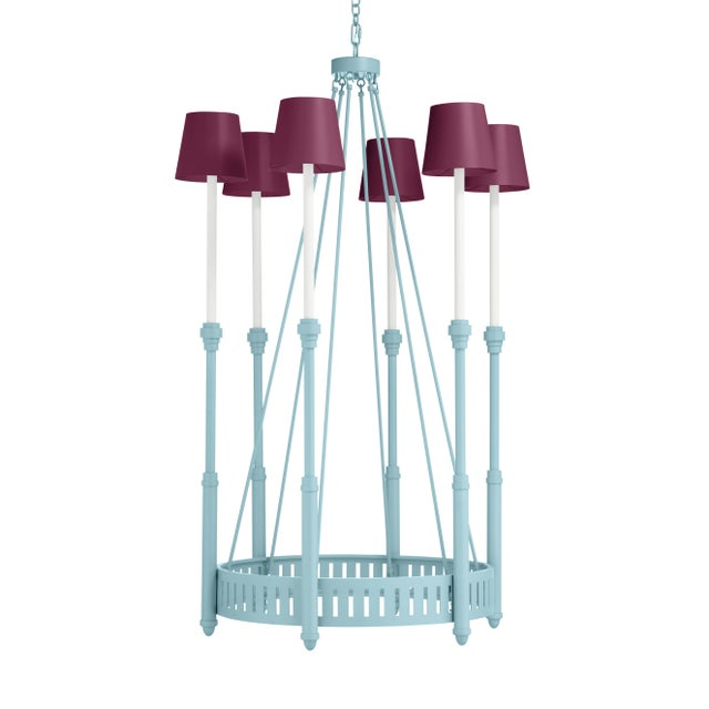 Casa Cosima Camilla Chandelier, Blue Stream with Grape Juice Shades For Sale - Image 4 of 4