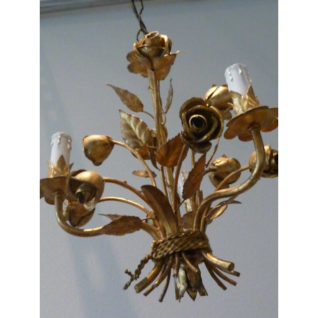 1960s Italian Gilded Rose Flower Chandelier - Image 4 of 8