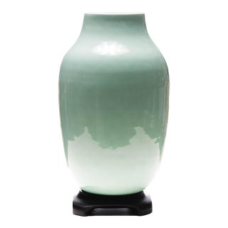 Master Hsu Chao-Tsung for Lawrence & Scott Aqua Green Blue Porcelain Vase on Stand For Sale