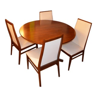 Mid Century Modern Milo Baughman Dining Set Newly Upholstered Chairs - 5 Piece Set For Sale