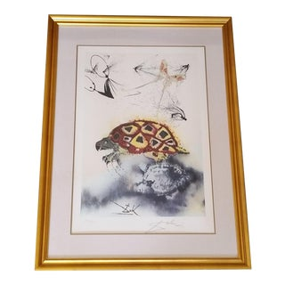 "1960's Salvador Dali ""Mock Turtle Story"" Pencil Signed Lithograph Print For Sale"