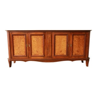 Vintage French Burled and Inlaid Maple Sideboard For Sale
