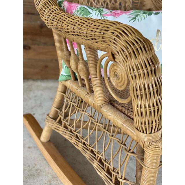 Wicker 1980's Vintage Fiddlehead Wicker Rocking Chair For Sale - Image 7 of 12