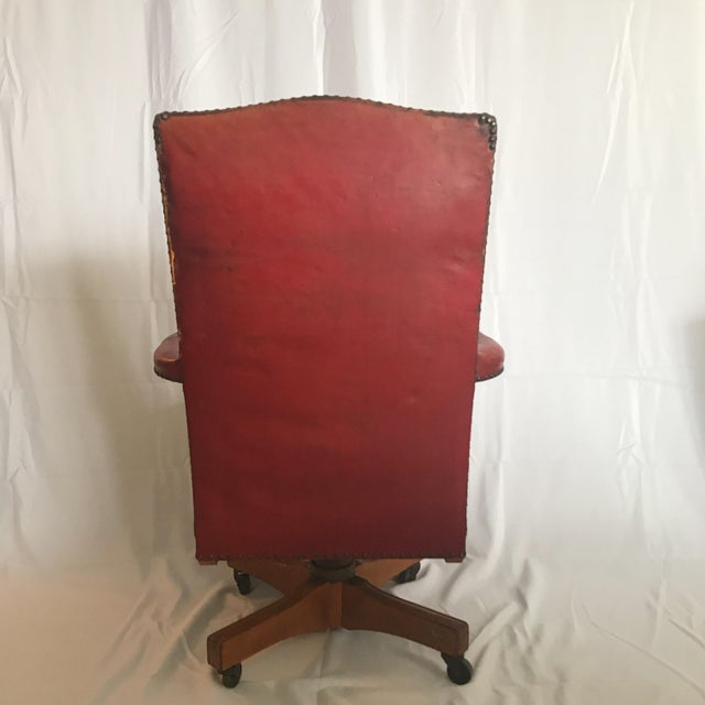 Metal Vintage Mid Century B L Marble Company Illinois House of Representatives Leather Lawyer Judge Chair For Sale - Image 7 of 13