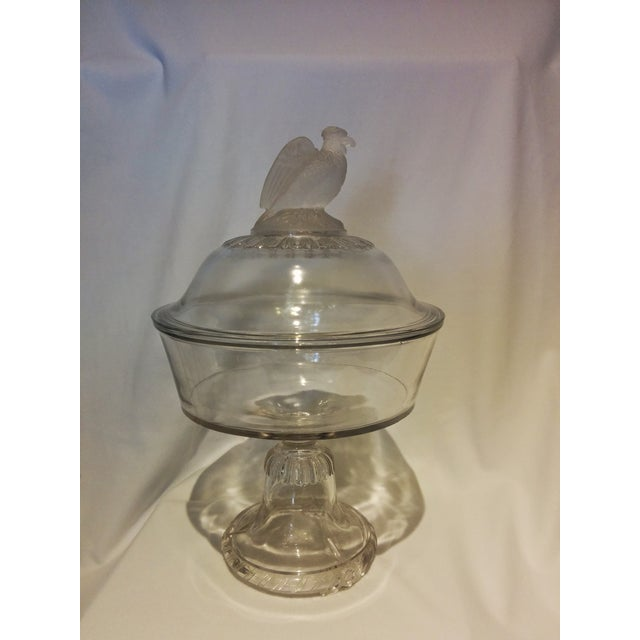 American Frosted Eagle Glass Lidded Compote - Image 3 of 7