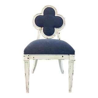 Hickory Chair White and Blue Transitional Alexandra Side Chair For Sale